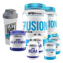 Kit 2x Whey Fusion Baunilha + 2x Creatina + 2x Bcaa + Glutamina 250g + Coqueteleira - BRN FOODS - Brnfoods