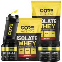 Kit 2x Whey Isolate + 2x Bcaa + 2x Creatina + Coqueteleira - Core Nutrition