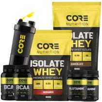 Kit 2x Whey Isolate + 2x BCAA + 2x Glutamina + Shaker - Core Nutrition