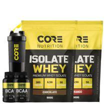 Kit 2x Whey Isolate + 2x BCAA + Shaker - Core Nutrition