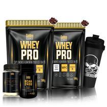 Kit 2x Whey Pro + Bcaa 2400 + Creatina + Shaker - Golden Science -