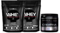 Kit 2X Whey Protein 900g Refil+ Creatina 300g probiotica - Black Skull