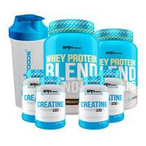 Kit 2x Whey Protein Blend 900g Chocolate + 4x Creatina Foods 100g + Coqueteleira 600mL - BRNFOODS -
