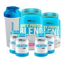Kit 2x Whey Protein Blend 900g Morango + 4x Creatina Foods 100g + Coqueteleira 600mL - BRNFOODS -