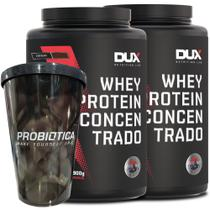 Kit 2x Whey Protein Concentrado Pote 900g Dux Nutrition Cappuccino + Copo -