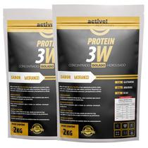 kit 2x whey protein isolado concentrado hidrolisado 3w 4kg activenutrition - Morango - Active Nutrition