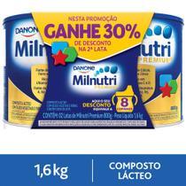 Kit 2x800g Milnutri Premium Composto Lácteo Infantil Lata -
