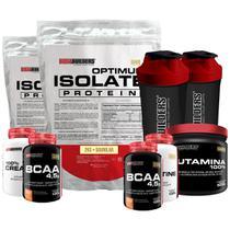 Kit 2xOptimum Isolate Whey Protein 2kg Baunilha +2xBcaa100g+2xCreatina100g +Glutamina 500g +2x Coqueteleira-Bodybuilders -