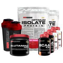 Kit 2xOptimum Isolate Whey Protein 900g Morango+2x Bcaa 100g+2xCreatina100g+Glutamina 500g+2xCoqueteleira-Bodybuilders -