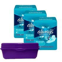 Kit 3 Absorventes Always Proteção Total Seca Com Abas + Frasqueira Always Roxa -