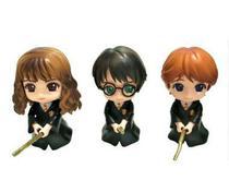 Kit 3 action figures qposket harry potter hermione ron on broom -