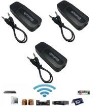kit 3 Adaptador Receptor Bluetooth Usb Para Caixa De Som Doméstico Pc Notbook Carro Automotivo - Dongle
