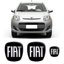 Kit 3 Adesivos Emblema Fiat Novo Palio Preto Black - Sportinox