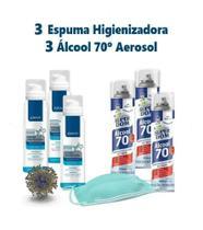 Kit 3 Álcool 70 Spray + 3 Espuma Higienizadora Antisséptica - Super Dom/ Above