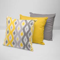Kit 3 Almofadas Decorativas Geométrico Amarelo - Love Decor