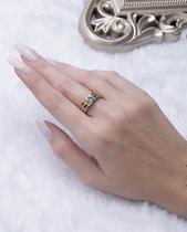 Kit 3 anéis dourado, rosé e prata com pedra cristal maju - Atacado Bijuterias