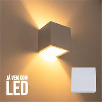 Kit 3 Arandela 2 Fachos Slim Branca + LED G9 5w 3000K Luminária Externa ou Interna St397 - Starlumen