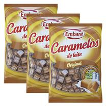 Kit 3 Balas de Caramelo Leite 660g - Embaré - Embare