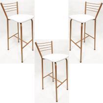 Kit 3 Banquetas Cozinha Alta cor Cobre assento branco - Poltronas do Sul -