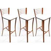 Kit 3 Banquetas cozinha Cobre alta assento branco - Poltronas do Sul -