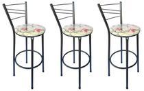 Kit 3 Banquetas Ravena Tubo Preto Craqueado com Assento Floral Clássico Vermelho - ItaGold -