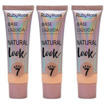 Kit 3 base líquida natural look bege 7 ruby rose -