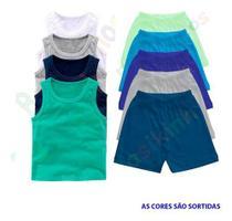 Kit 3 Bermuda E 3 Camiseta Regata Infantil 1 A 6 Anos - Basikinhos Moda Bebê
