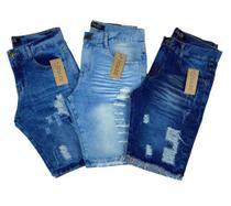 Kit 3 Bermudas jeans Masculina Destroyed - Daze