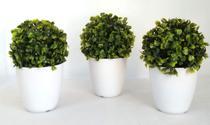 Kit 3 Bolas Buchinho Artificial Decorativas + Vaso Branco - Enfeite Flores