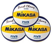 Kit 3 Bolas de Vôlei de Praia VLS300 Branco, Amarelo e Azul - Mikasa -