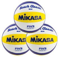 Kit 3 Bolas de Vôlei de Praia VXL30 Branco, Amarelo e Azul - Mikasa -