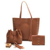 KIT 3 Bolsa Conjunto Modelos Variados Tira Colo+ Saco+carteira Caramelo - CALFER