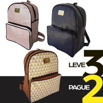 Kit 3 Bolsas Feminina Mochila Leve3 Pague2 Faculdade Escolar Trabalho Viagens Leve Confortável - Magazinemds