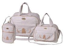 Kit 3 bolsas mala saída maternidade espera feliz atacado bege -