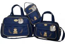 Kit 3 bolsas mala saída maternidade espera feliz  atacado marinho -