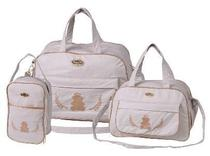 Kit 3 bolsas mala saída maternidade espera feliz  revenda bege -