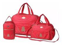 Kit 3 bolsas mala saída maternidade espera feliz vermelho revenda -