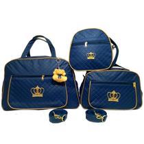 Kit 3 bolsas maternidade coroa bebê enxoval azul marinho - Glamour