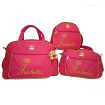 Kit 3 bolsas maternidade personalizada enxoval pink - Glamour