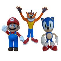 Kit 3 Bonecos Grandes - Sonic Super Mario e Crash - Super Size Figure Collection