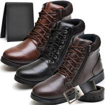 Kit 3 Bota Coturno com Carteira e Cinto Masculina Conforto Dia a Dia - Valesconi Calçados