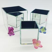KIT 3 Cachepot Espelhado Quadrado Cubo 10cm 5003K3 LylHome -
