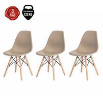 Kit 3 Cadeiras Charles Eames Eiffel Fendi Base Madeira - Baba Shop