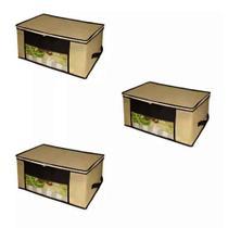 Kit 3 Caixa Organizadora Closet Roupas Coberta 45x45x20cm - Universal Vendas