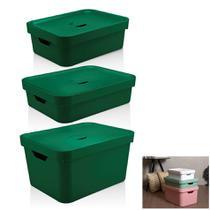 Kit 3 Caixa Organizadora Grande Cesto Com Tampa Roupa Brinquedo Plástico Cube - KTE 004 Ou -