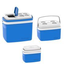 Kit 3 Caixa Térmica 32, 12, 5 L Azul Soprano -
