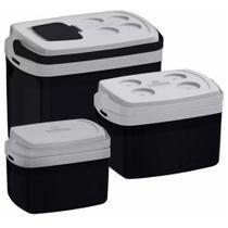 Kit 3 Caixa Térmica 32, 12, 5 L Preta Soprano -