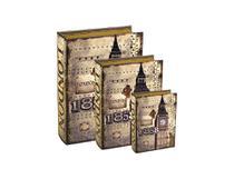 Kit 3 Caixas Livro Mdf London Organizador P/M/G Decoração - Mart