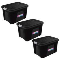 Kit 3 Caixas Organizadora Multiuso Plastica 20 Litros Trava - Uninjet