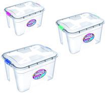 Kit 3 Caixas Organizadoras Transparente 12/20/30 Litros - Uninjet -